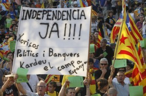 Demonstrating for Catalan independence
