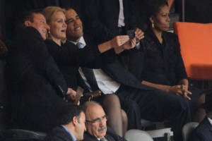 Danish Prime Minister Helle Thorning-Schmidt takes a selfie