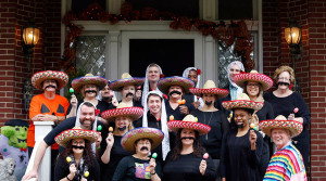 James Ramsey, lower right, the University of Louisville president, and his wife, Jane, upper left, hosted a Halloween party in Louisville, Ky. The University of Louisville has apologized after the photo showing Ramsey among university staff members dressed in stereotypical Mexican costumes was posted online. Scott Utterback/The Courier-Journal, via Associated Press