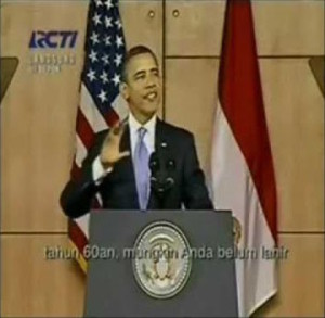 President Obama speaking Indonesian